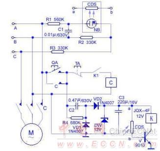直流电压,加在由继电器k,光敏电阻cds和开关管v组成的保护执行电路上.